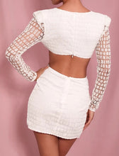 Load image into Gallery viewer, White Glitter Deep V Neck Open Back Playsuit - Beyazura.com