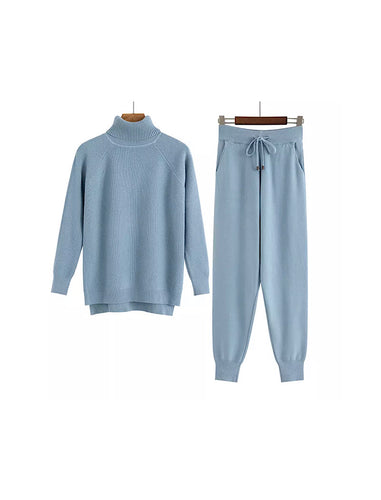 Blue Turtleneck Ribbed Long Sleeve Top and Jogging Pant Coord Set