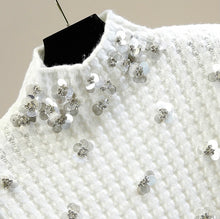 Load image into Gallery viewer, Floral Sequined High Neck Knit Sweater - BEYAZURA.COM