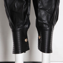 Load image into Gallery viewer, Vegan Leather High Waist Buttoned Hem Pleated Pants - BEYAZURA.COM