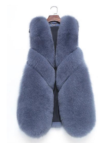Three Asymmetrical Panel Genuine Fox Fur Gilet - BEYAZURA.COM