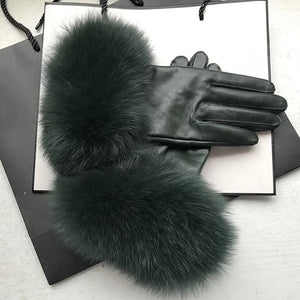Genuine Fox Fur Trimmed Sheepskin Leather Gloves - BEYAZURA.COM