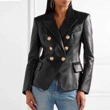 Load image into Gallery viewer, Lambskin Leather Gold Trimmed Blazer Jacket - BEYAZURA.COM