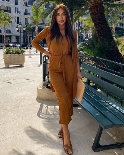 Spaghetti Strap Top Cropped Pants And Long Sleeve Robe Three Piece Set - BEYAZURA.COM