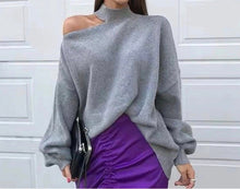 Load image into Gallery viewer, Cut Out Shoulder High Neck Knit Sweater - BEYAZURA.COM
