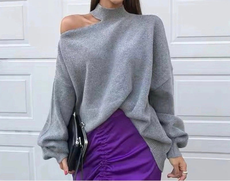 CUT OUT SHOULDER HIGH NECK KNIT SWEATER