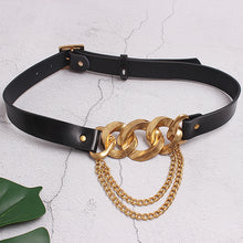 Load image into Gallery viewer, Black Bulky Gold Chain Belt - BEYAZURA.COM