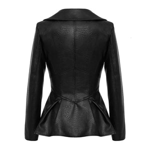 Vegan Leather Corset Style Waist Jacket - Beyazura.com