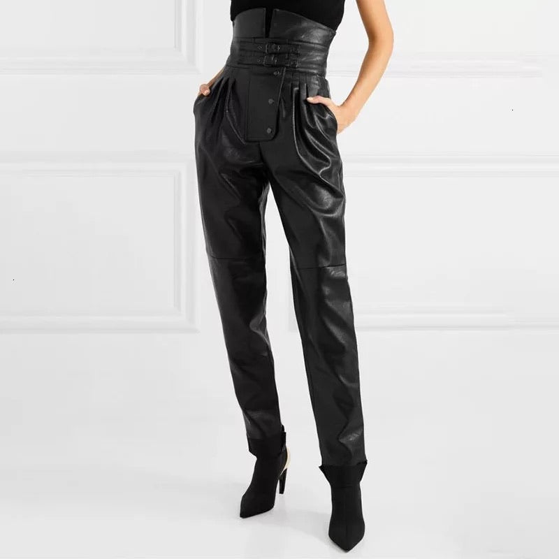 Vegan Leather High Waist Ruched Pants - BEYAZURA.COM