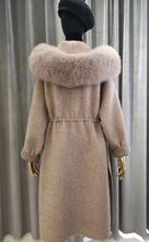 Load image into Gallery viewer, Genuine Fox Fur Hooded Double Sided Alpaca Cashmere Wool Coat - BEYAZURA.COM