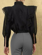 Load image into Gallery viewer, Black Luxury Flared Detailed Blouse Jacket - BEYAZURA.COM