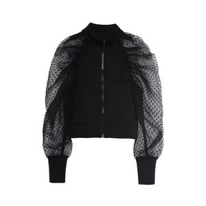 Mesh Sleeve Full Zip Up High Neck Sweater - Beyazura.com