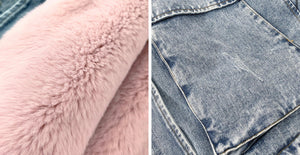 Genuine Fox Fur Trimmed Denim Jackets - BEYAZURA.COM