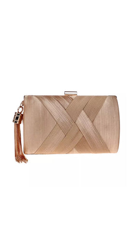 Draped Silk Rounded Evening Clutch - BEYAZURA.COM