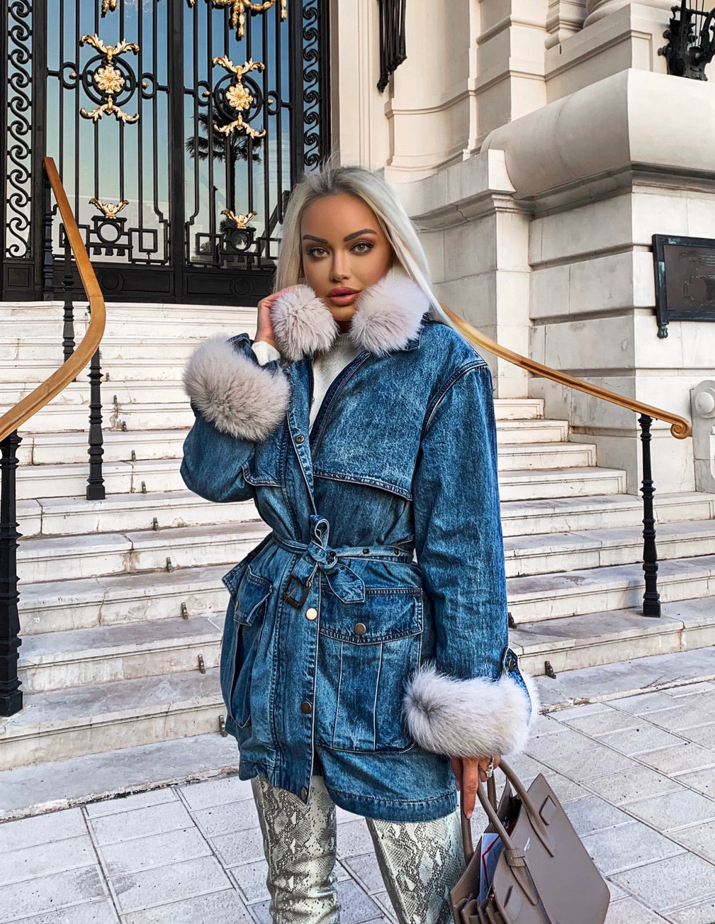 Goose Down Denim Coat With Fox Fur Trims - BEYAZURA.COM