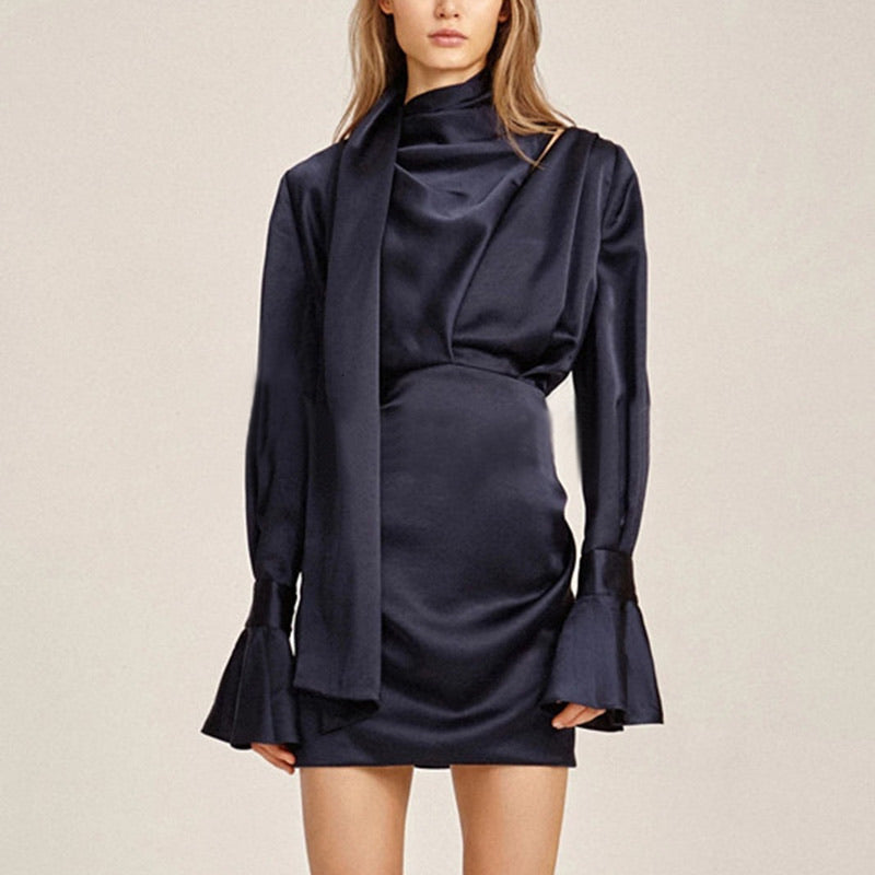 Shawl Collar Flared Bell Sleeve Satin Mini Dress - BEYAZURA.COM