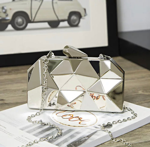 Shiny Metal Geometrical Evening Clutch - BEYAZURA.COM