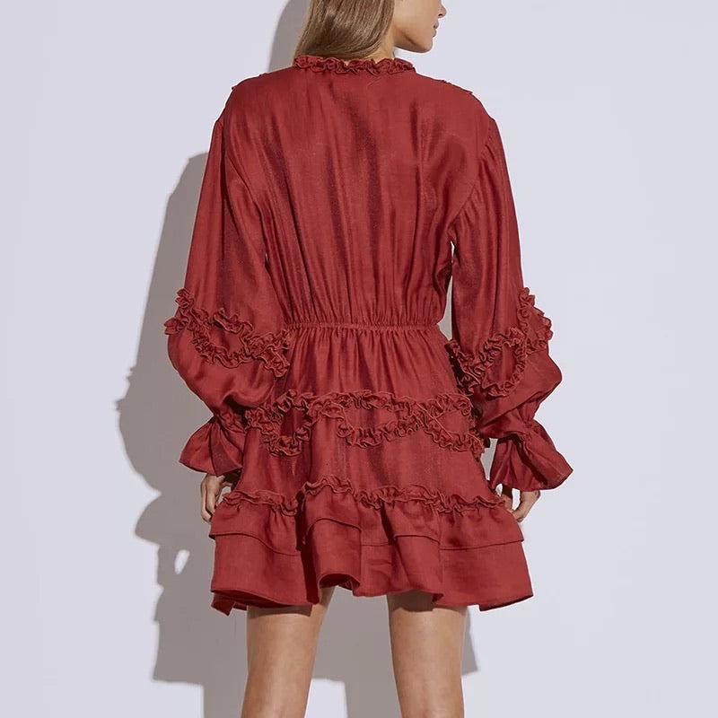 Ruffle Skirt and Ruched Above The Knee Dress in Red - BEYAZURA.COM