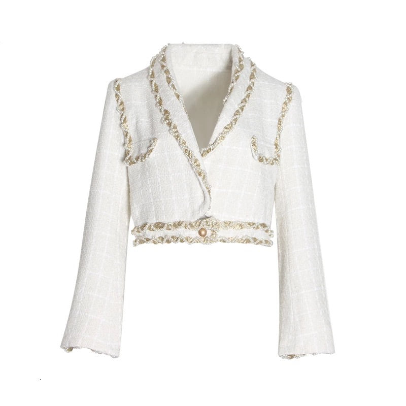 Pearl Edge Cropped Tweed Jacket - BEYAZURA.COM