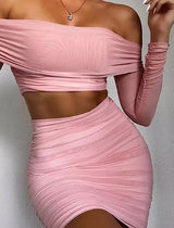 Pink Mesh Bandage Two Piece Set - Beyazura.com