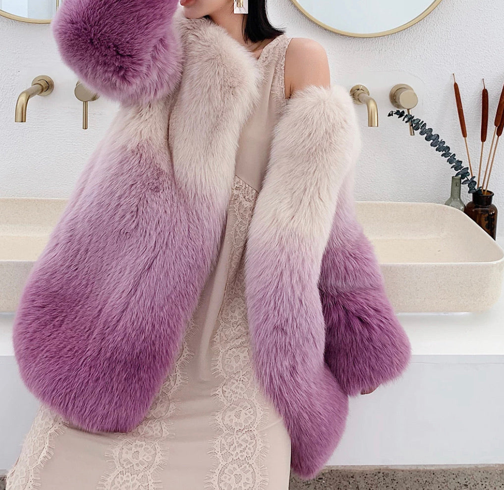 GENUINE FOX FUR OMBRÉ DYED COAT - BEYAZURA.COM