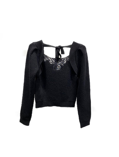 Black Long Sleeve Knit Embroidered Top