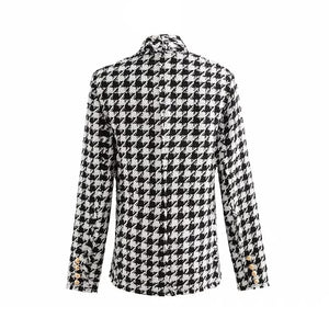 Black And White Houndstooth Blazer Coat With Gold Buttons - BEYAZURA.COM