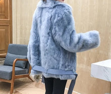 Load image into Gallery viewer, Genuine Double Sided Tuscany Sheepskin With Sheep Fur Belted Coat - Beyazura.com