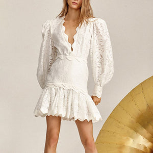 White Lace Deep V Neck Ruffle Skirt Lantern Sleeve Dress - BEYAZURA.COM