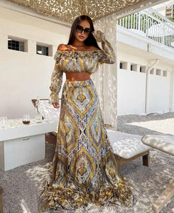 Paisley Print Two Piece Dress - BEYAZURA.COM