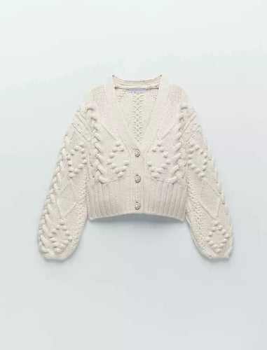 Beige Embroidered Cardigan With Pearl Buttons - BEYAZURA.COM