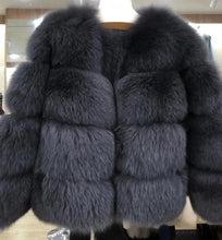 Load image into Gallery viewer, Genuine Fox Fur Four Horizontal Panel Coat - BEYAZURA.COM
