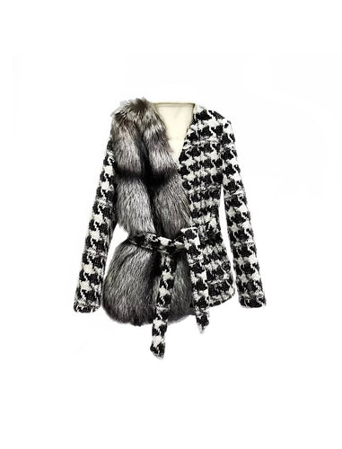 Houndstooth One Sided Fox Fur Trim Belted Wool Jacket - BEYAZURA.COM