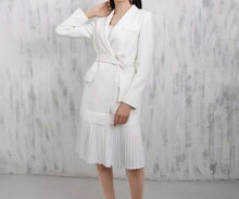 Load image into Gallery viewer, Pleated Skirt Tie Belted Blazer Dress - BEYAZURA.COM