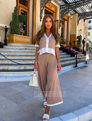 Ribbed Knit Cardigan And Wide Leg Cropped Trouser Two Piece Set