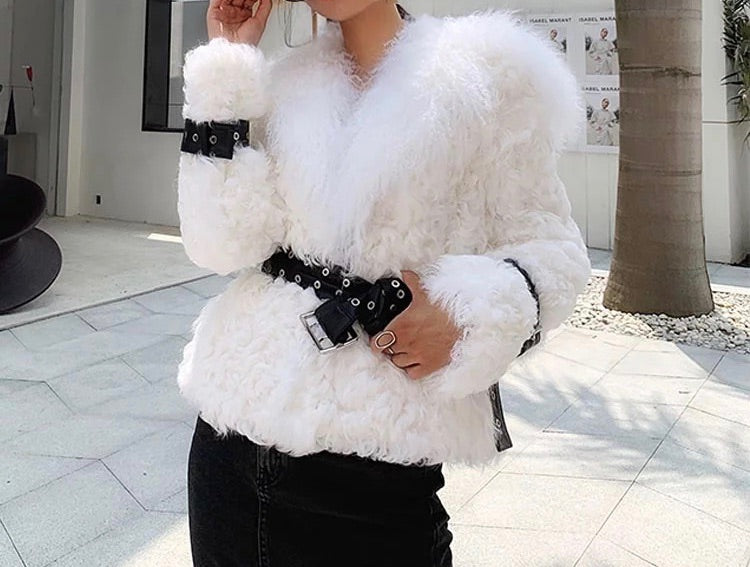 MONGOLIAN LAMB FUR SHEEPSKIN LEATHER BELTED COAT