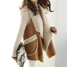 Load image into Gallery viewer, Faux Fur Oversized Collar And Pockets Vest - BEYAZURA.COM