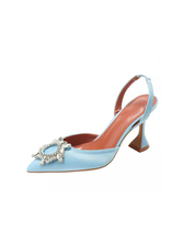 Load image into Gallery viewer, Satin Crystal Trimmed Sling Back Heels - Beyazura.com