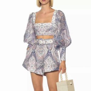 Purple Square Neck Top and High Waisted Shorts Co-Ord Set - BEYAZURA.COM