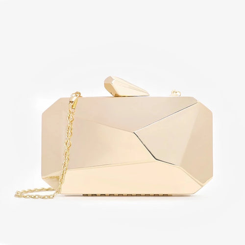 Gold Geometrical Evening Clutch - Beyazura.com