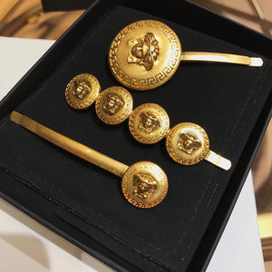 Medusa Gold Coin Hair Slides - BEYAZURA.COM