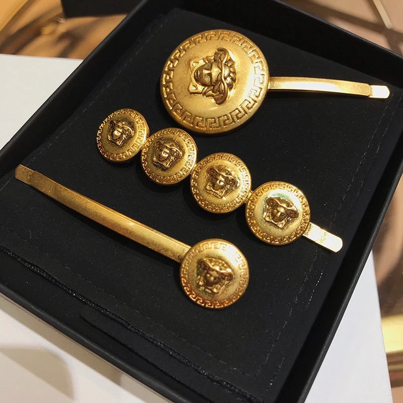 MEDUSA GOLD COIN HAIR SLIDES (SET OF 3)