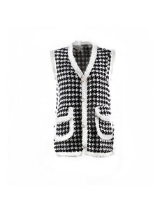 Fringed Houndstooth Pattern Knit Long Vest - BEYAZURA.COM