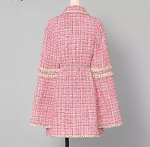 Load image into Gallery viewer, Pink Tweed Cape Belted Coat - BEYAZURA.COM