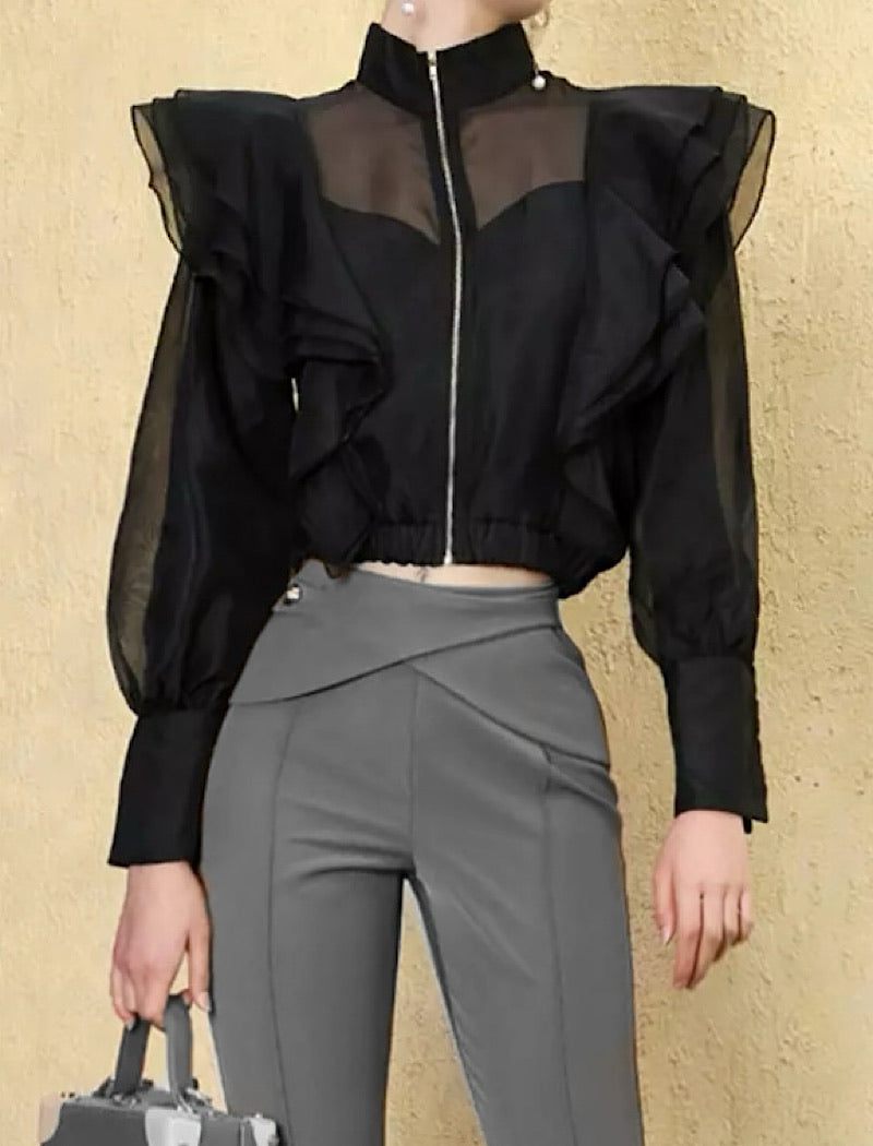 Black Luxury Flared Detailed Blouse Jacket - Beyazura.com