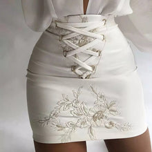 Load image into Gallery viewer, White Latex Floral Embroidered Front Lace Mini Skirt - Beyazura.com