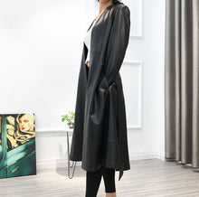Load image into Gallery viewer, Lambskin Leather Trench Coat With Belt - BEYAZURA.COM