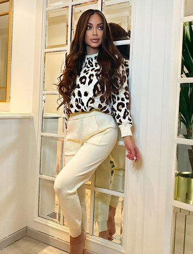 Leopard Knit Pullover And Trousers Two Piece Set - BEYAZURA.COM