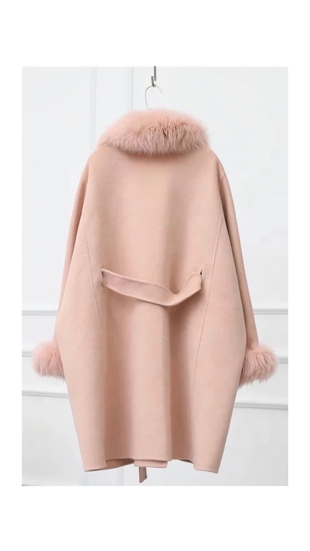 Oversized Cashmere Wool Removable Fox Fur Collar Belted Coat - BEYAZURA.COM