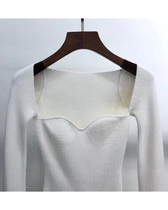 Ribbed Knit Asymmetrical Long Sleeve Top - BEYAZURA.COM
